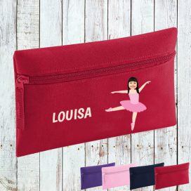 red pencil case with ballerina image