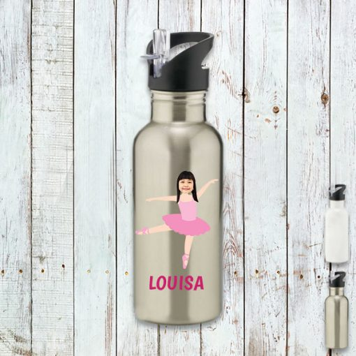 silver water bottle with ballerina image