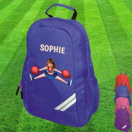 blue backpack with cheerleader image