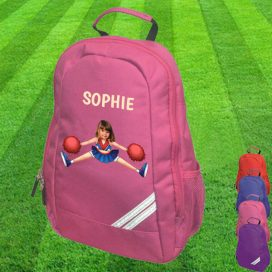 pink backpack with cheerleader image
