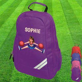 purple backpack with cheerleader image