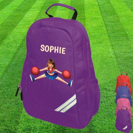 purple backpack with cheerleader image