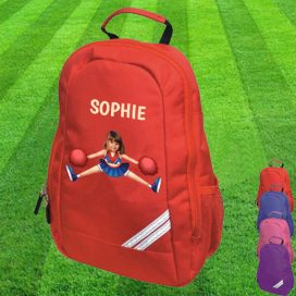 red backpack with cheerleader image