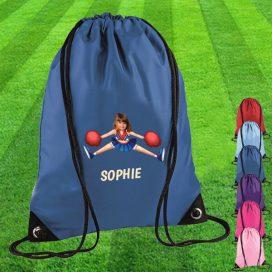 blue drawstring bag with cheerleader image