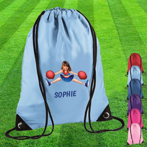 sky blue drawstring bag with cheerleader image
