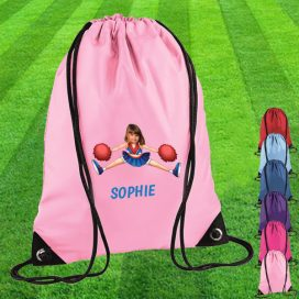 light pink drawstring bag with cheerleader image