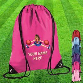 pink cheerleader drawstring bag