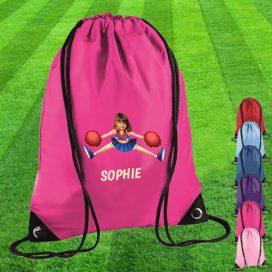 pink drawstring bag with cheerleader image