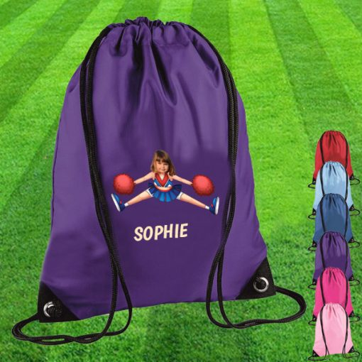 purple drawstring bag with cheerleader image