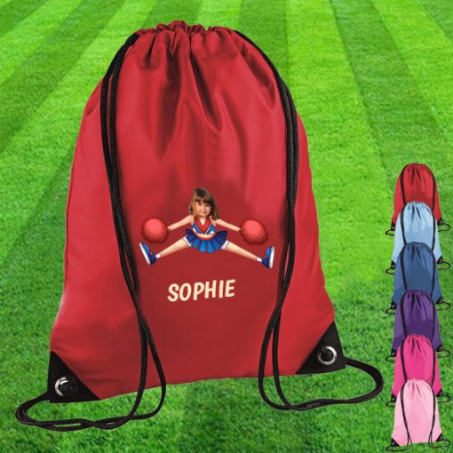 red drawstring bag with cheerleader image