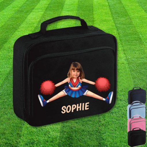 black lunch bag with cheerleader image