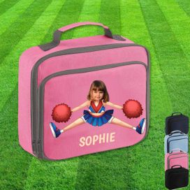 pink lunch bag with cheerleader image