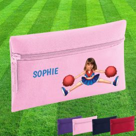 pink pencil case with cheerleader image