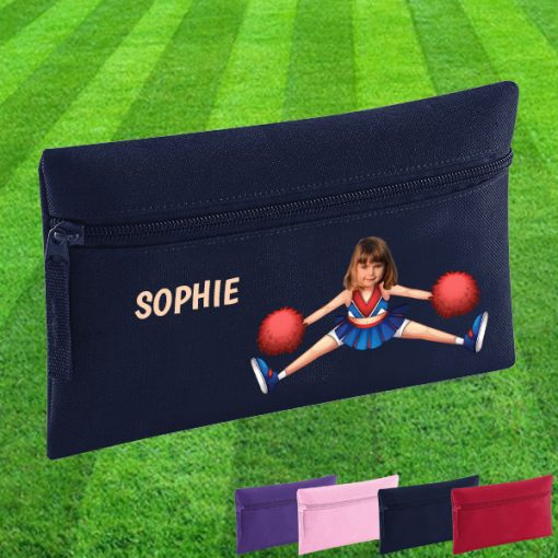 navy pencil case with cheerleader image