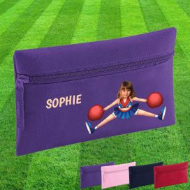 purple pencil case with cheerleader image