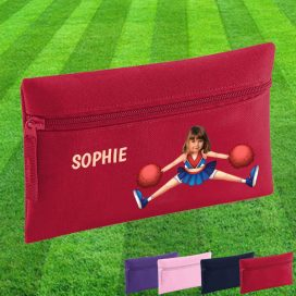 red pencil case with cheerleader image