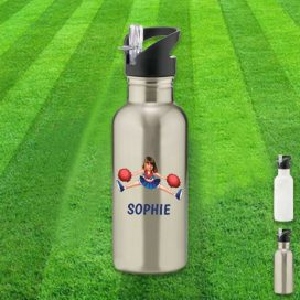 silver water bottle with cheerleader image