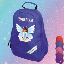 blue backpack with fairy image