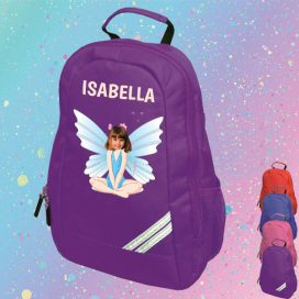 purple backpack with fairy image