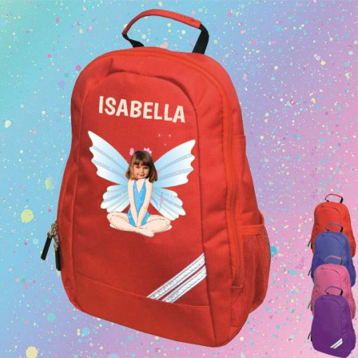 red backpack with fairy image