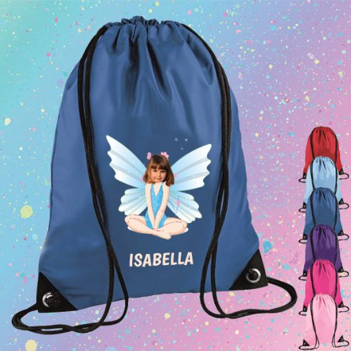 blue drawstring bag with fairy image