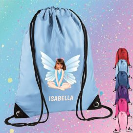 sky blue drawstring bag with fairy image