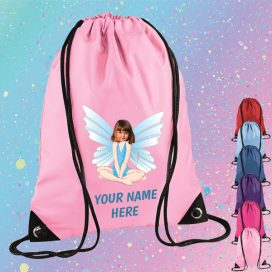 light pink fairy drawstring bag