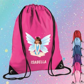pink drawstring bag with fairy image