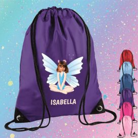purple drawstring bag with fairy image
