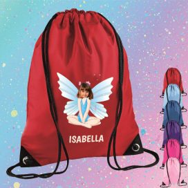 red drawstring bag with fairy image