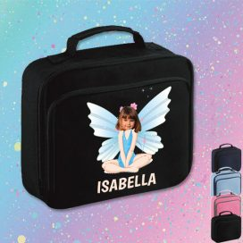 black lunch bag with fairy image