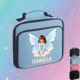 sky blue lunch bag with fairy image