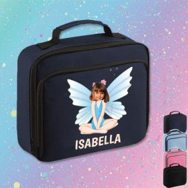 navy lunch bag with fairy image