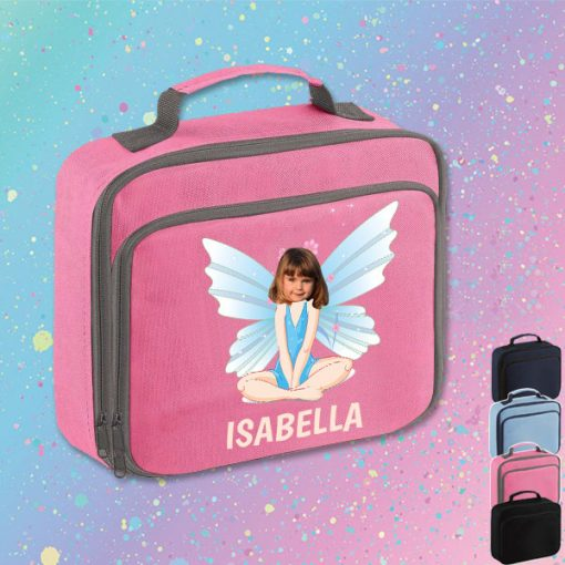 pink lunch bag with fairy image