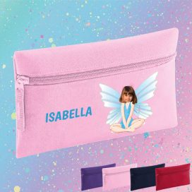 pink pencil case with fairy image
