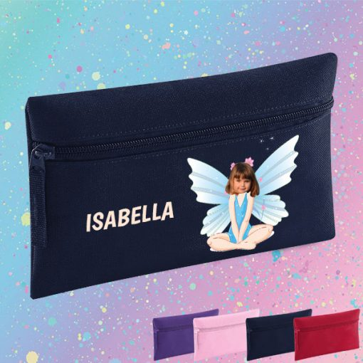 navy pencil case with fairy image