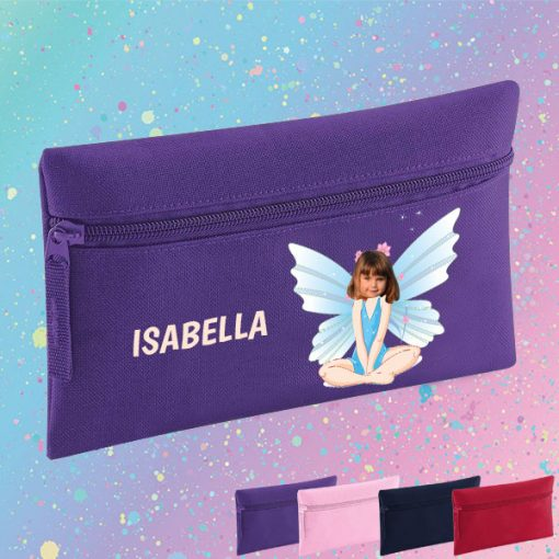 purple pencil case with fairy image