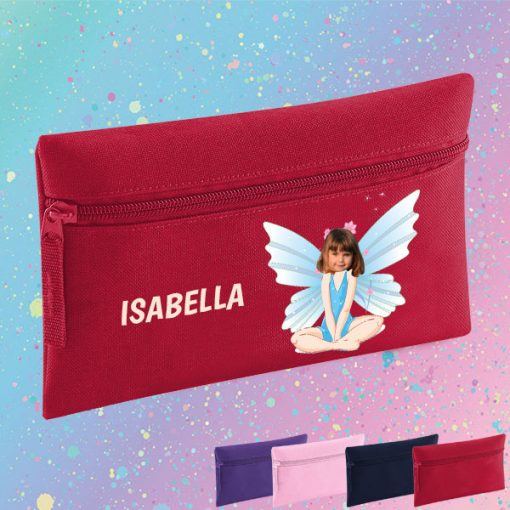 red pencil case with fairy image