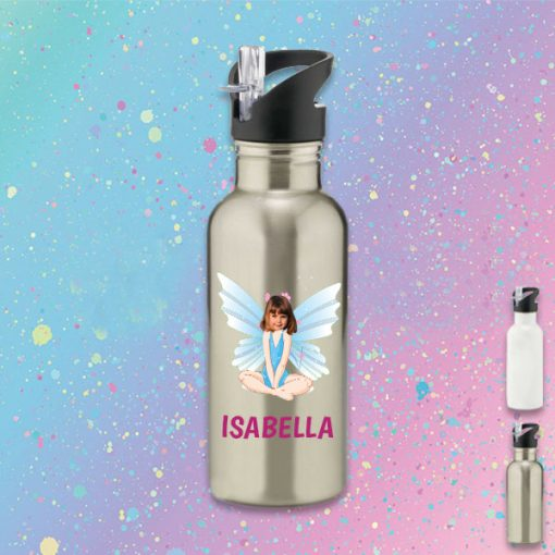 silver water bottle with fairy image