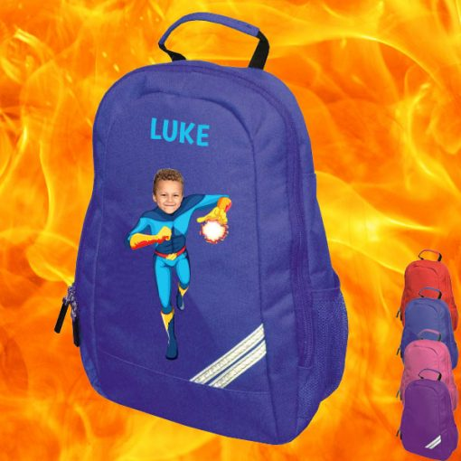 blue backpack with fireboy image