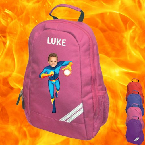 pink backpack with fireboy image