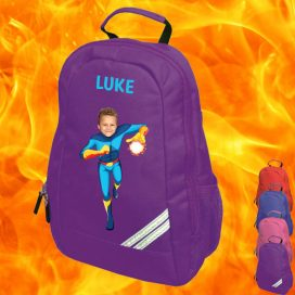 purple backpack with fireboy image