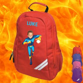 red backpack with fireboy image
