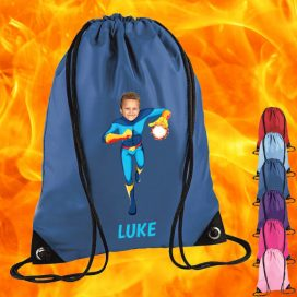 blue drawstring bag with fireboy image