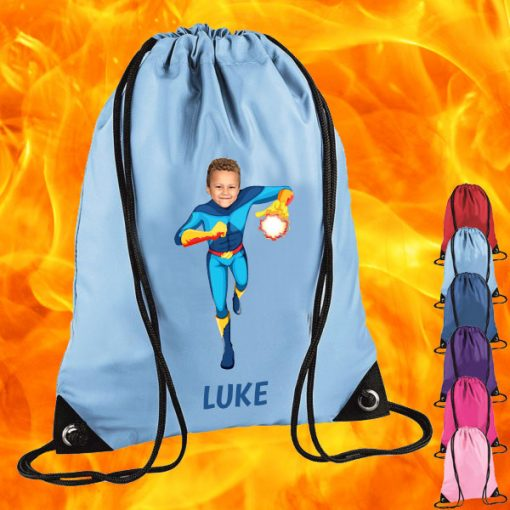 sky blue drawstring bag with fireboy image