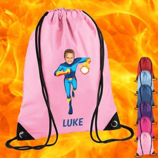 light pink drawstring bag with fireboy image