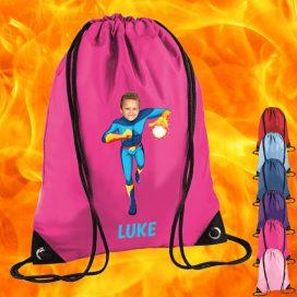 pink drawstring bag with fireboy image