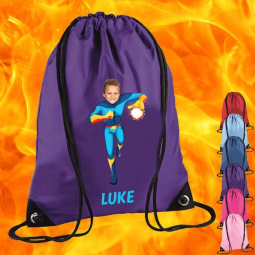 purple drawstring bag with fireboy image