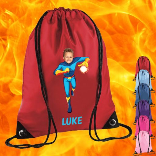 red drawstring bag with fireboy image