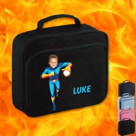 black lunchbag with fireboy image
